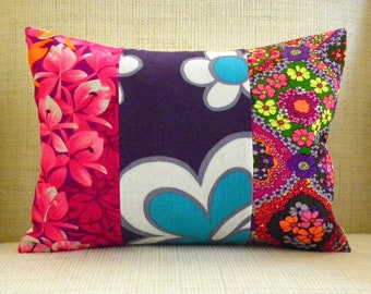 Throw Pillow Cover - Vintage Floral Hawaiian Patchwork - Pink & Purple - 12 x 16