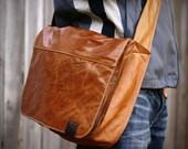 Leather Laptop Messenger Bag -- Unique Rust Color -- Soft Leather