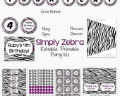 Purple Zebra Party Supplies, Printable Party Package, Decorations, Party Favors -- Editable, Instant Download
