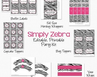 Hot Pink and Zebra Party Supplies, Party Package, Kit, Decorations, Party Favors -- Editable, Printable, Instant Download