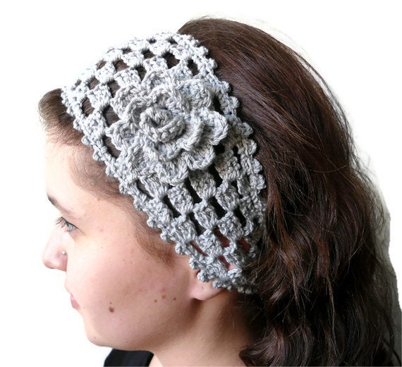 gray crochet headband , hair accessories ,gift ,unique Turkish style ...