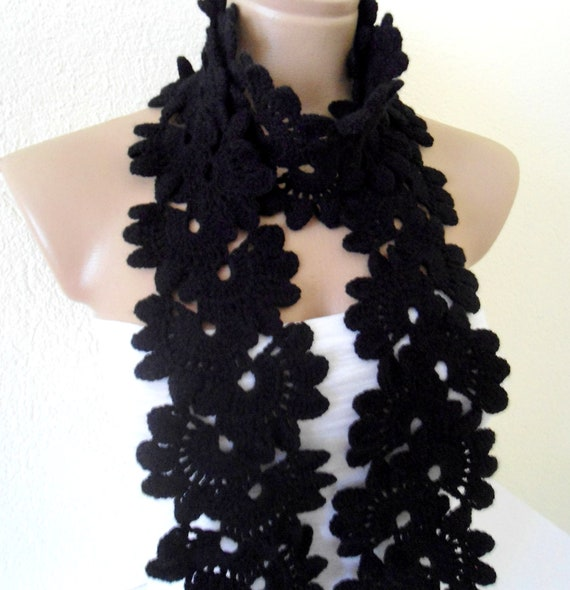 Crocheted Black, Lace Neckwarmer,fashion,autumn,Holiday Accessories,Christmas,Halloween,gift