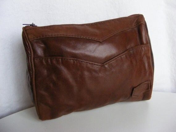 70s 80s Chevron Brown Leather Cosmetic Bag or Small Clutch Purse