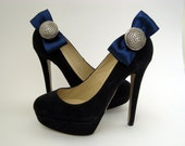 Blue & Silver Satin Bow Shoe Clips FREE SHIPPING