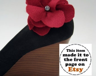 Red Poppy Shoe Clips FREE SHIPPING