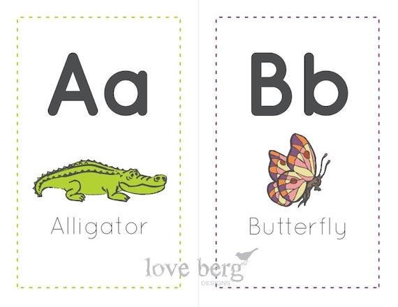 PRINTABLE Alphabet Animal Flashcards -- PDF digital file