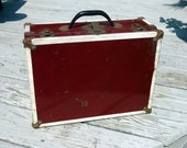 SALE chippy paint small and nifty maroon metal 40s suitcase/white trim