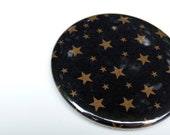Stars Everywhere - Black & Gold Stars Pocket Mirror - Perfect for Bridesmaid Gifts, Gift Under 5, Party Favors
