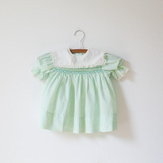 Vintage Green Smocked Heart Dress (12-18 months)