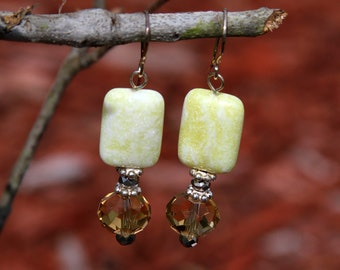 Lemon jasper and Quartz earrings