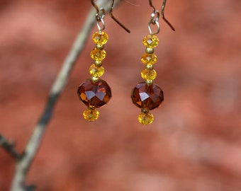 Gold and smoky quartz earrings.