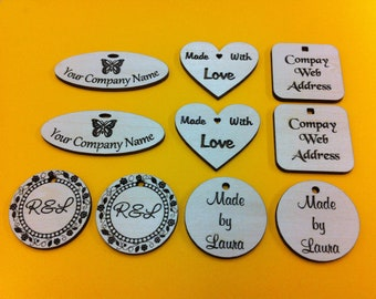 Custom Laser Engraved Basswood Tags (set of 25)