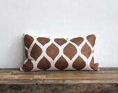 Metallic terra cotta & off-white handprinted organic hemp pillow cover 12x21
