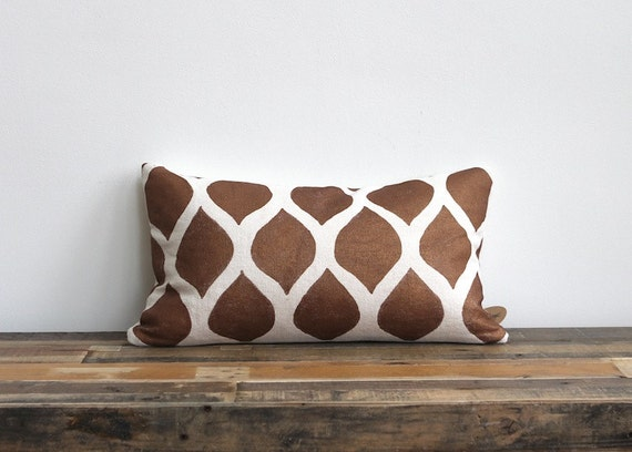 Metallic terra cotta & off-white handprinted organic hemp pillow cover 12x21
