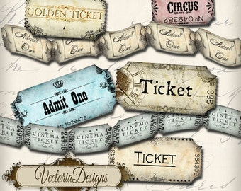 Vintage Ticket Strip instant download printable tickets digital Collage Sheet VD0175