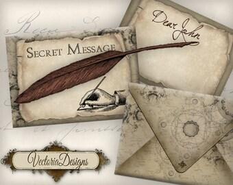 Secret Message Envelopes Printable Steampunk Envelopes instant download digital collage sheet 261