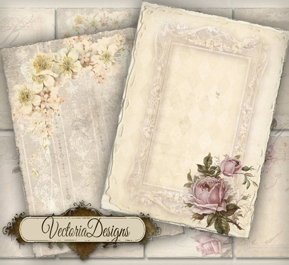 Shabby Chic ATC images digital background instant download printable collage sheet VD0187