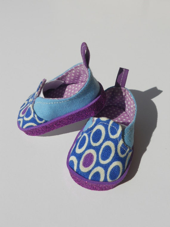 Purple and Blue Canvas Slip-ons for American Girl Dolls