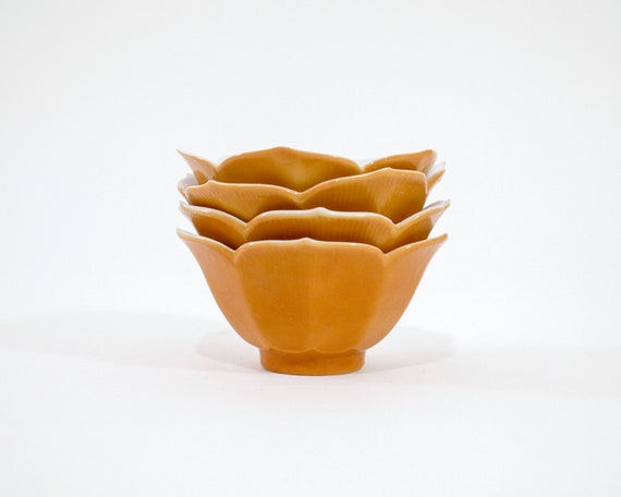 Mustard Lotus Bowls (set of 4)