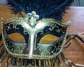Kirk's Folly Fancy Feathered Black And Gold Masquerade Mardi Gras Ball  Halloween Mask