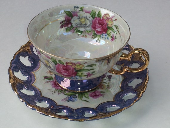 Gilt Gold and Purple Luster China Floral Tea Cup and Saucer Vintage