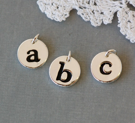 Personalized Silver plated disc lower case letter charm . alphabet .YOUR CHOICE of letters