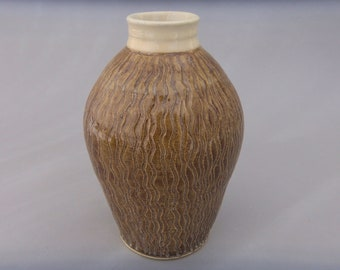 Earthtone Ceramic Vase -  Golden Honey Brown - Hand Carved Pottery - Stoneware Matte Chiffon