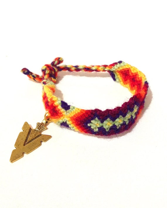 cyber monday neon arrowhead charm friendship bracelet