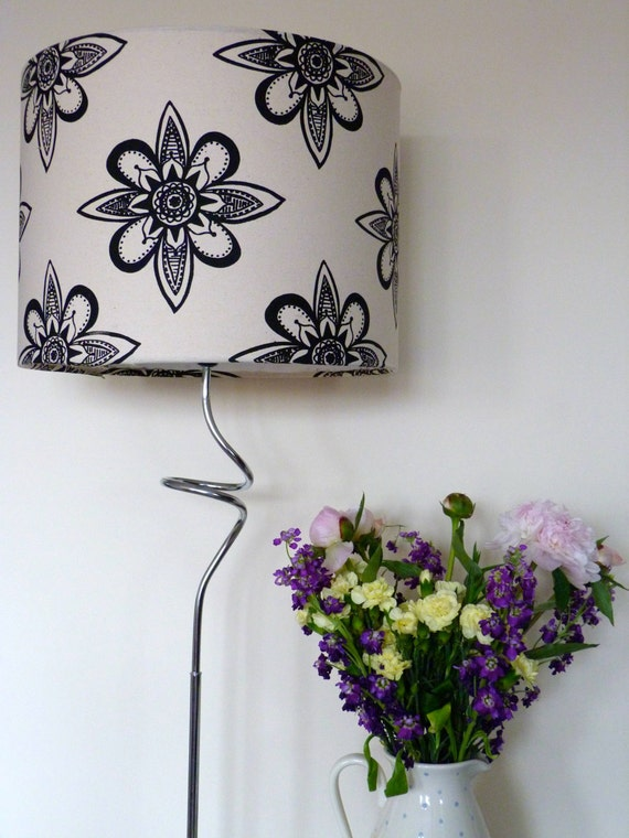 Lamp Shade Handmade Hand Screen Printed Lampshade Star Burst Design 40cm diameter