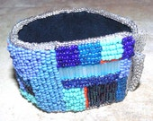 denim blues Tribute to Gees Bend Quilters  bead embroidered bracelet