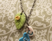 Personalized Clay Heart Initials Pendants with Leaf & Rose