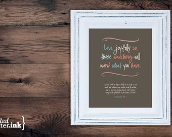 Wall Art (LifePrints) - Live Joyfully (chocolate, teal, pink, creme) Colossians 3:16 - 8 x 10 Print