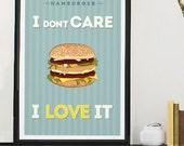 Hamburger Art Poster, size A3