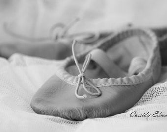Ballerina Photograph, Ballet Photography, Black and White Ballerina Slippers, Tiny Dancer, Nursery Room Decor, 20x30 Print