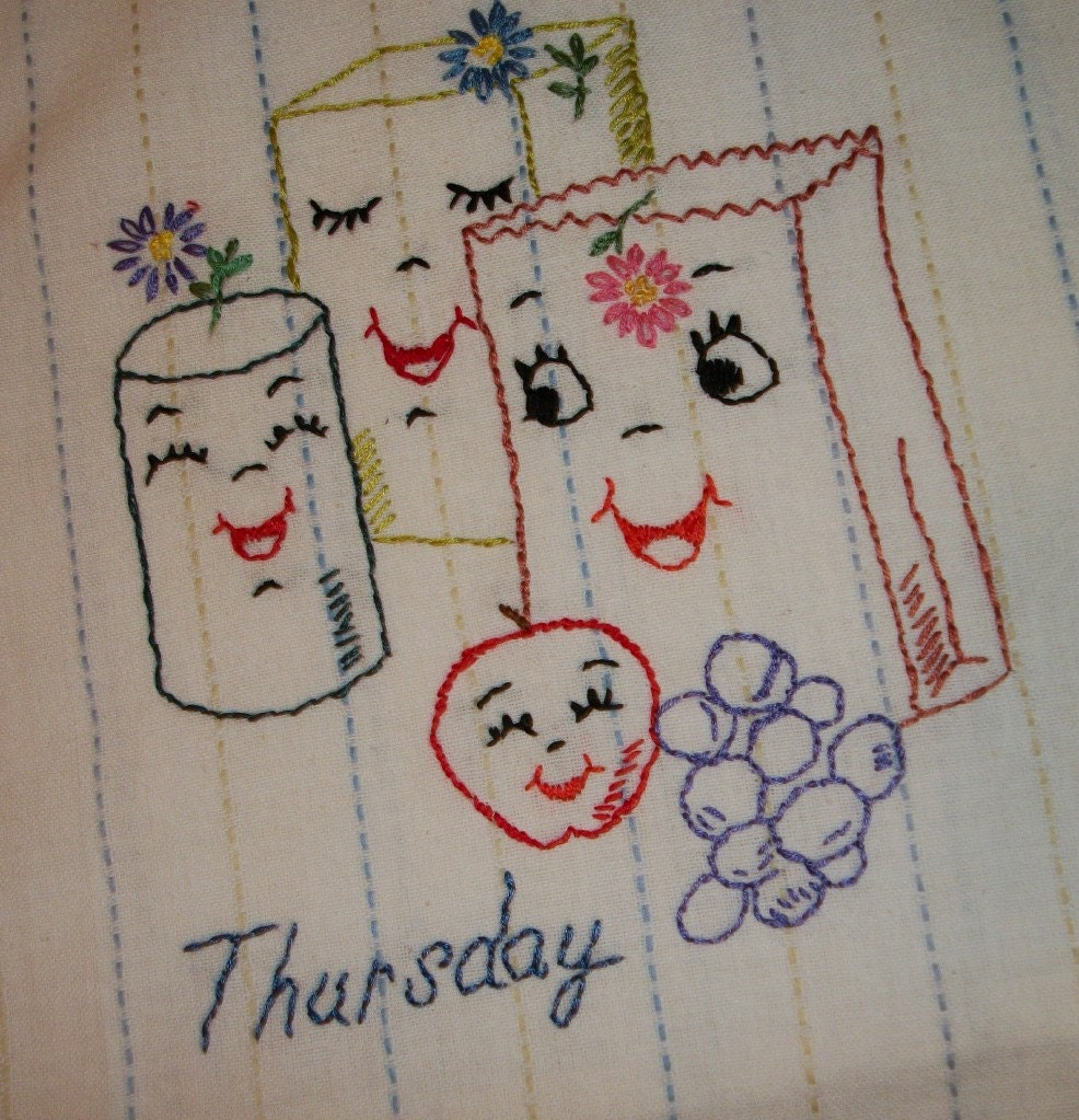 Hand embroidered dish towels days of the week chore towels - Free embroidery designs for kitchen towels ...