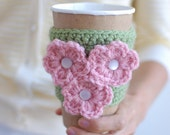 Coffee Cup Cozy, Crochet Coffee Sleeve, Reusable Cup Cozy, Green with Pink Flowers,