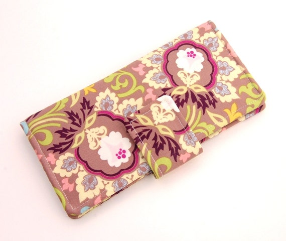 SALE Boho Bifold Wallet - Smart Phone Clutch -  Art Gallery Fabrics Paradise Collection Taupe Double Bloom - Wristlet Option