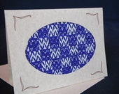 Handwoven Note Card Royal Blue White Squares (C151)