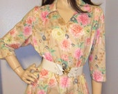 Vintage 70's Haband Floral Print Poly Top Sz Large