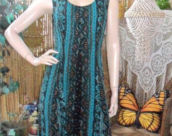 Vintage 90's Tribal Print Sleeveless Maxi Dress - sz 8
