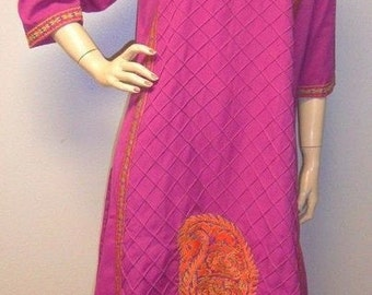 Vintage 70s Ethnic Embroidered BOHO Tunic  Dress M-XL