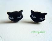 Luna The Black Cat Stud Earrings