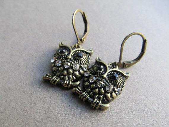 Dangle Oxidized Brass  Owl Earrings With Rhinestones