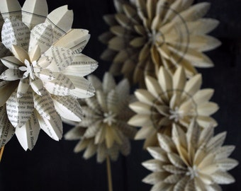 Book Blossom Bouquet Paper Dahlias, Train - Freight Book Pages,5 Origami Flowers on a stems