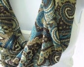 Brown Paisley Infinity Scarf in Brown, Blue and Tan Chiffon Handmade Scarf by Thimbledoodle is Single Loop