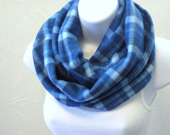 Fleece Circle Scarf in Royal Baby Blue Plaid Unisex Infinity Neck Scarf Handmade Winter Fashion