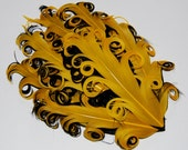 Curly Feather Pad - Two Tone Yellow on Black  FP194 - (1 piece)