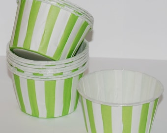 Green Stripe Candy Cups  Nut cups  Baking cupcake liners or muffin cups   Ice cream cup  dessert  portion cups - 24 count