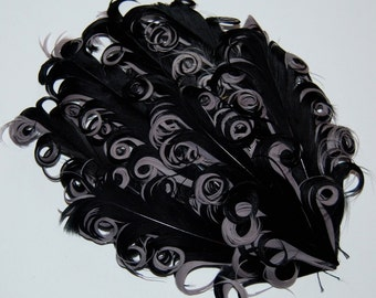 Curly Feather Pad -  Two Tone Black on Gray  FP199  - (1 piece)