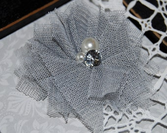 """4 pcs - Small Gray Tulle Mesh  Fabric Flowers with Cluster  Pearl & Rhinestone center  Gracie Collection - 2 1/4""""  Fabric flower - flat back"""